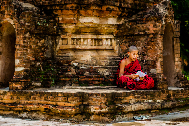 Novice monks study on the grounds of their monestary, Bagan, Myanmar (Quinn Ryan Mattingly)