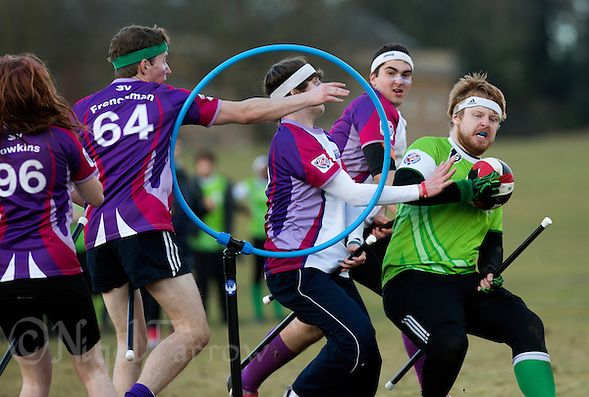 08 MAR 2015 - NOTTINGHAM, GBR - Alexander Greenhalgh (right) of Keele Squirrels looks for a chance to shoot during the 2015 British Quidditch Cup bronze medal match against Loughborough Longshots at Woollaton Hall and Deer Park in Nottingham, Great Britain (PHOTO COPYRIGHT © 2015 NIGEL FARROW, ALL RIGHTS RESERVED) (NIGEL FARROW/COPYRIGHT © 2015 NIGEL FARROW : www.nigelfarrow.com)