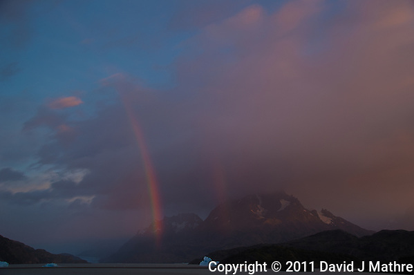Early Morning Rainbow, Lago Grey, Torres del Paine, Chile. Image taken with a Nikon D3s and 28-120 mm f/4 lens (ISO 200, 31 mm, f/5.6). HDR composhref=