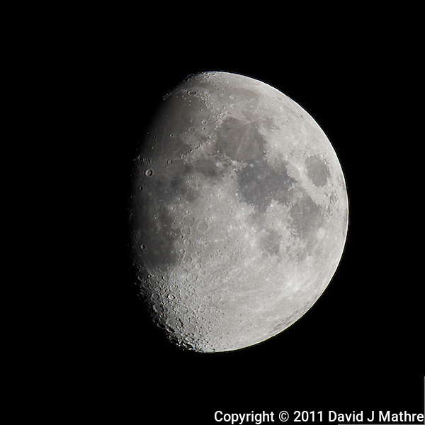 Waxing Gibbous Moon (75%). Autumn Night in New Jersey. Image taken with a Nikon D3s and 600 mm f/4 VR lens + TC-E III 20 teleconverter. (ISO 200, 1200 mm, f/16, 1/50 sec). (David J Mathre)