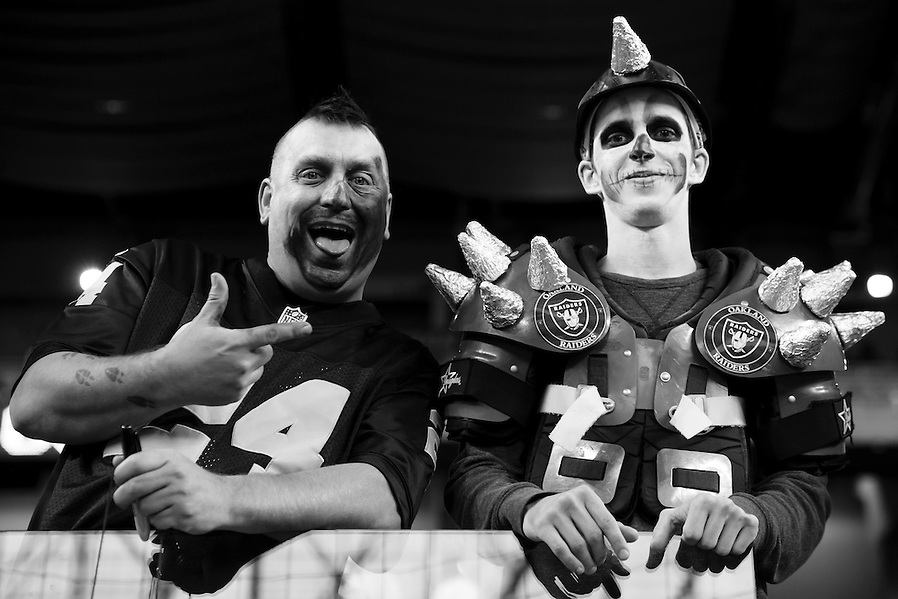 Oakland Raiders fans are seen prior to an NFL football game against the Detroit Lions at Ford Field in Detroit, Sunday, Nov. 22, 2015. (AP Photo/Rick Osentoski) (Rick Osentoski/AP)