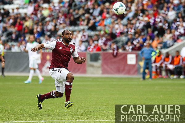 March 30th, 2013 Commerce City, CO - Colorado Rapids defender Marvell Wynne (22) chases after a ball during the first half of the MLS match between the Portland Timbers and the Colorado Rapids at Dick's Sporting Goods Park in Commerce City, CO (Carl Auer/Newsport)