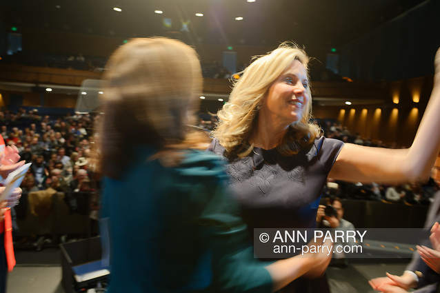 Hempstead, NY, USA. Jan. 1, 2018. L-R, Lt. Gov. KATHY HOCHUL congratulates LAURA GILLEN after Hochul and Congresswoman Rice swear her in as Hempstead Town Supervisor, at Hofstra University. (© 2018 Ann Parry/Ann-Parry.com)