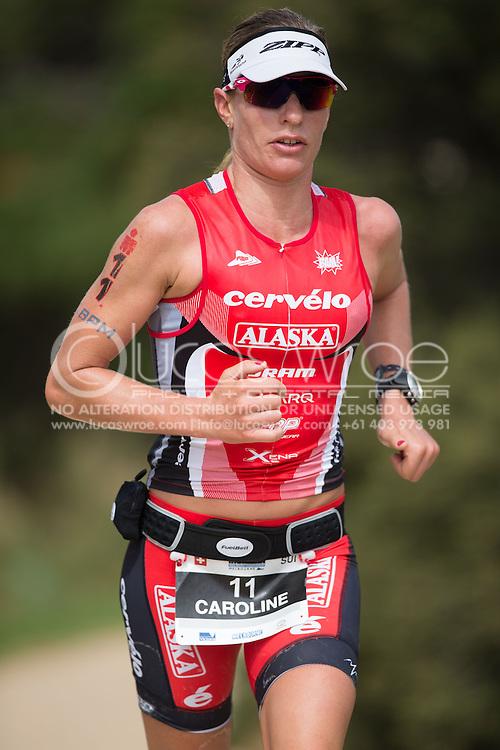 Caroline Steffen (SUI), March 23, 2014 - Ironman Triathlon : Run Course. Ironman Melbourne Race, Run Course Between Frankston And St Kilda, Melbourne, Victoria, Australia. Credit: Lucas Wroe (Lucas Wroe)