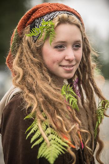 UAA student Jill Andersen at the Girdwood Forest Fair (Clark James Mishler)