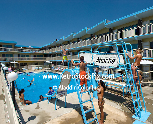 Attache Motel in Wildwood Crest NJ. 2008 Pool with Slide & High Dive (Aladdin Color Inc. / Retrostockpix.com)