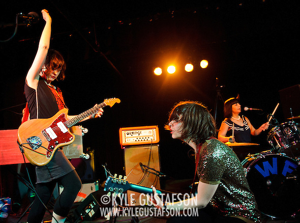 WASHINGTON, D.C. - March 10th, 2011: Mary Timony, Carrie Brownstein and Janet Weiss of WIld Flag perform at the Black Cat in Washington, D.C. The band consists of former members of Sleater-Kinney, Helium and The Minders and will record and release their debut album later this year.   (Photo by Kyle Gustafson/For The Washington Post) (Photo by Kyle Gustafson / For The Washington Post)