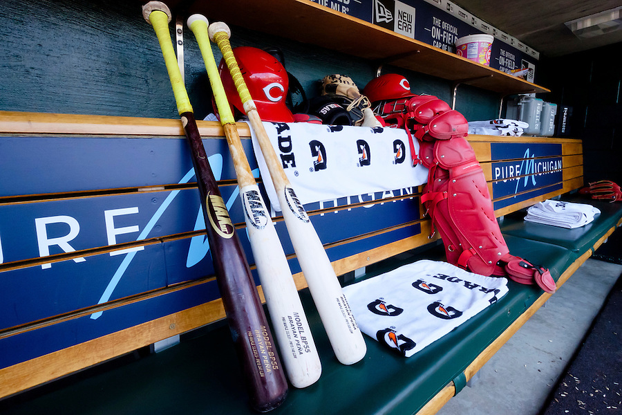 Jun 16, 2015; Detroit, MI, USA; Equipment of Cincinnati Reds catcher Brayan Pena (29) in the dugout before the game against the Detroit Tigers at Comerica Park. Mandatory Credit: Rick Osentoski-USA TODAY Sports (Rick Osentoski/Rick Osentoski-USA TODAY Sports)
