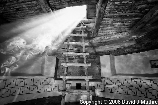 "Kiva Sunbeam. Kelly Place, Cortez Colorado. Elderhostel ""Southwest Photography"" Workshop Day 2. Image taken with a Nikon D3 and 14-24 mm f/2.8 lens (ISO 200, 20 mm, f/4, 1/50 sec). Nik Silver Efex Pro 2. (David J Mathre)"