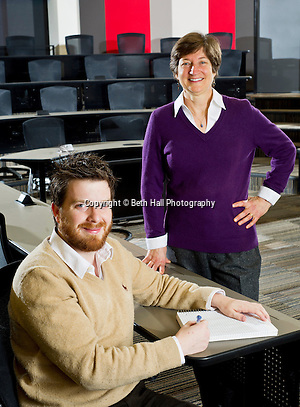 Portrait photography of Seth Shumate and Carol Reeves with the Walton College of Business at the University of Arkansas in Fayetteville, Arkansas. (Beth Hall)