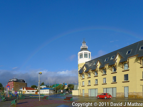Hotel and Rainbow. Snapshot taken with a Leica V-Lux 20 camera (ISO 80, 5.1 mm, f/5.4, 1/1000 sec). (David J Mathre)