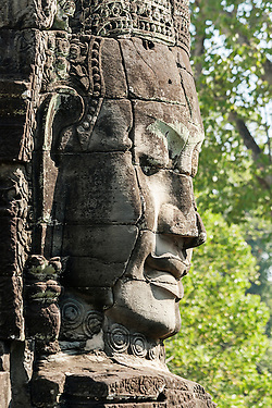 Carved Head At Bayon Temple, Angkor Thom, Cambodia (unknown)