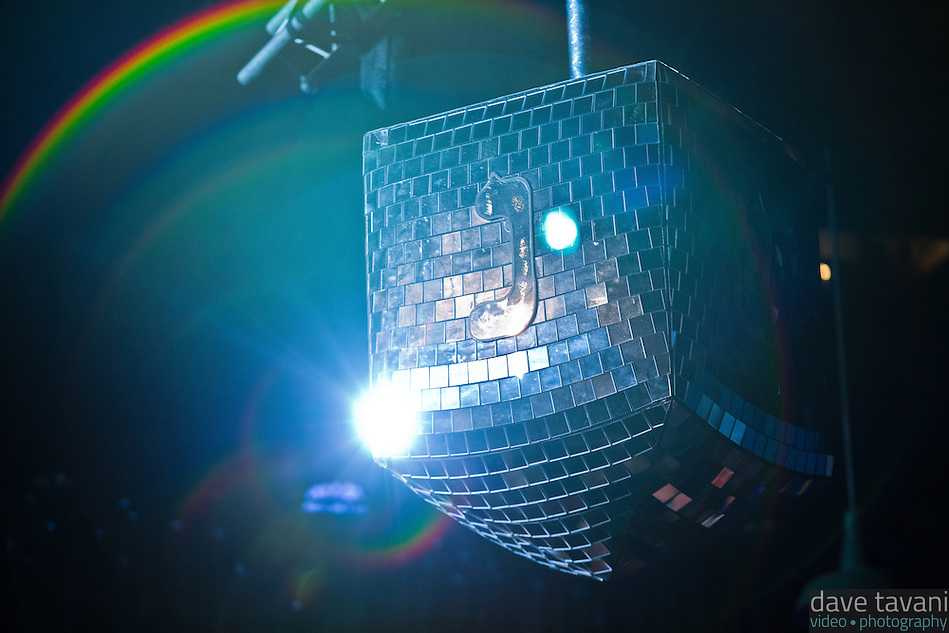 """A giant disco dradle spins reflecting light at Matisyahu's """"Festival of Light"""" tour at the Electric Factory in Philadelphia, December 12, 2012. (Dave Tavani)"""