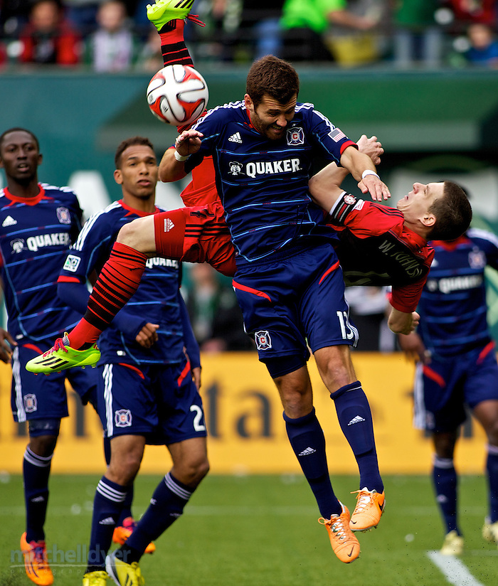 Mar 16, 2014; Portland, OR, USA; Portland Timbers midfielder Will Johnson (4) attempts a bicycle kick in the second half at Providence Park. Photo: Craig Mitchelldyer-Portland Timbers (Craig Mitchelldyer)