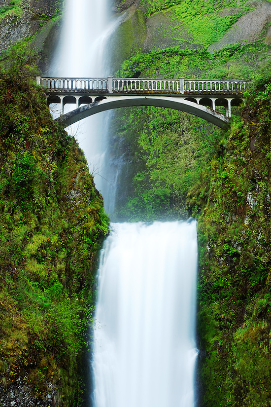 Multnomah Falls and bridge, Columbia River Gorge National Scenic Area, Oregon, USA (Copyright Brad Mitchell Photography.9601 Wall St.Snohomish, WA 98296.USA.425-418-7279.brad@bradmitchellphoto.com)