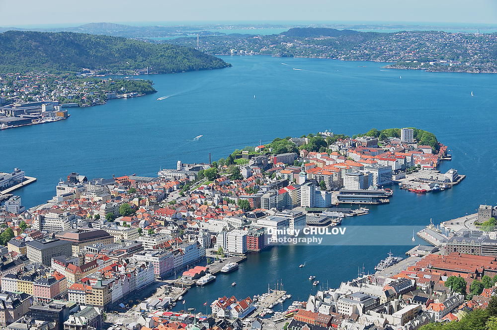 BERGEN, NORWAY - JUNE 06, 2010: View to the buildings and harbor from Floyen hill in Bergen, Norway. (Dmitry Chulov)