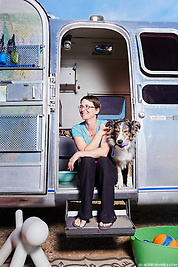Kelly Puccio and her dog Sam are full-time residents of their Airstream travel trailer. (Seth K Hughes)
