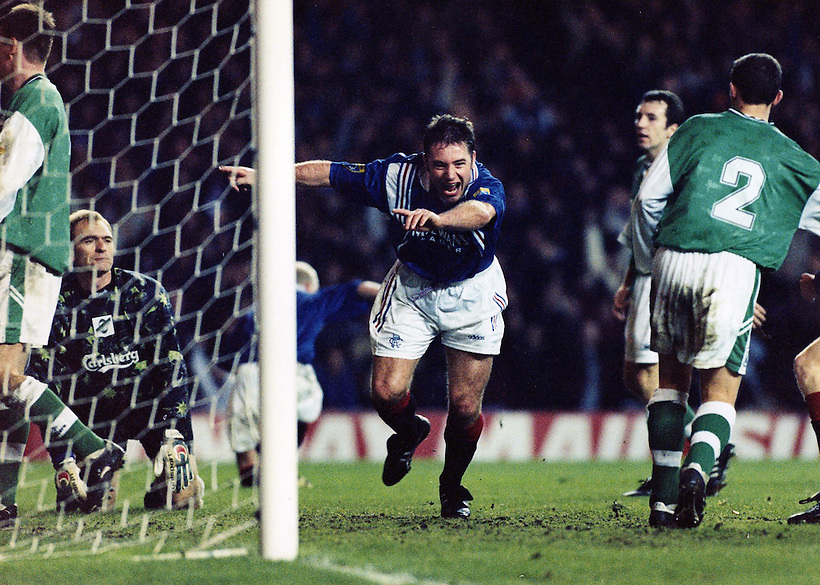 RANGERS V HIBERNIAN, ALLY MCCOIST CELEBRATES BREAKING THE SCORING RECORD, ROB CASEY PHOTOGRAPHY. (ROB CASEY/ROB CASEY PHOTOGRAPHY)
