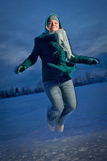 UAA psychology student, Brenna McLaughin, at Westchester Lagoon, Anchorage (Clark James Mishler)