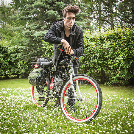 """Rebel without a Cause"" photographer Michael Huff with his newly aquired motor-bike hybrid. (© Clark James Mishler)"