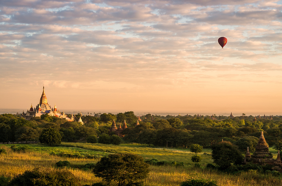 Sunrise over the plains of Bagan with view of the Dhammayan Gyi Temple on the left. (Daniel Korzeniewski)