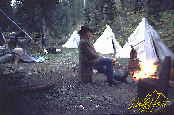 Cowboy, hunting camp, Jackson Hole Wyoming (Daryl Hunter)