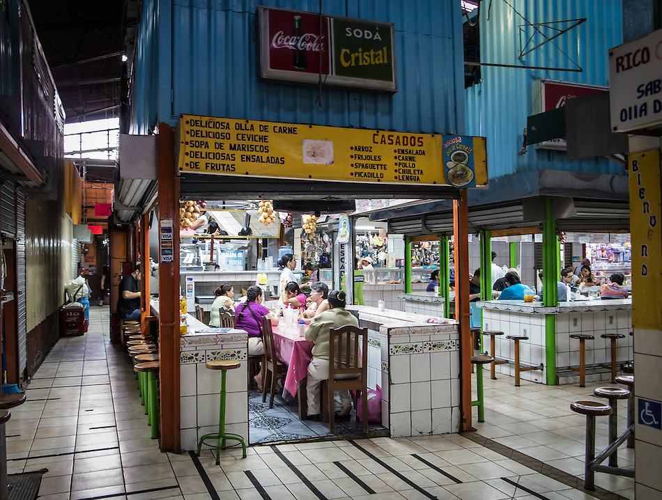 SAN JOSE, COSTA RICA - CIRCA AUGUST 2012: Restaurant in the Central Market circa 2012 in San Jose, a very popular attraction and the biggest market in the city  with more than 10.000 daily visitors. (Daniel Korzeniewski)