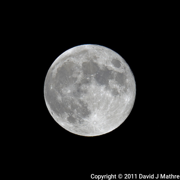 Late Spring Full Moon over New Jersey. Image taken with a Nikon D3x and 600 mm f/4 VR lens (ISO 100, 600 mm, f/11, 1/200 sec) on a Gitzo tripod and Wimberley Head. Raw image processed with Capture One Pro, Focus Magic, and Photoshop CS5 (David J Mathre)