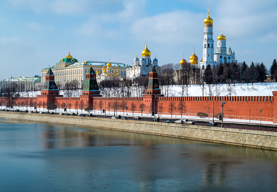 Close up view of the Kremlin from the banks of the Moskva River in Moscow, Russia. (Daniel Korzeniewski)