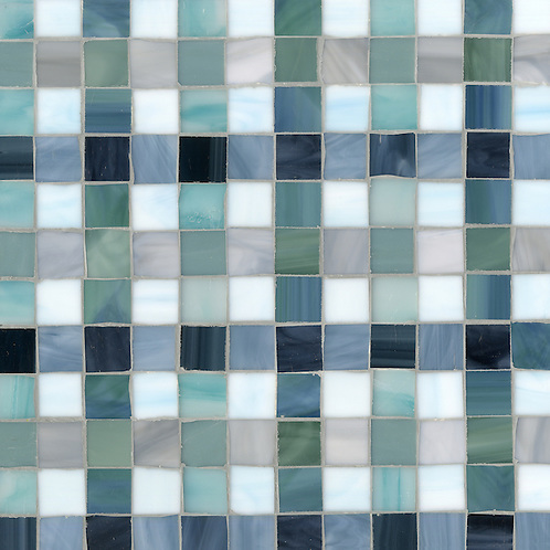 Bonnie, a jewel glass mosaic field shown in Marcasite, Zircon, Pearl, Jade, Amazonite, Serpentine, Turquoise, Mica and Peacock Topaz, is part of the Plaids and Ginghams Collection by New Ravenna Mosaics. (New Ravenna Mosaics 2012)