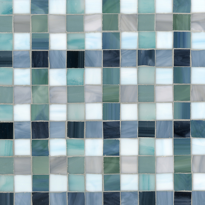 Bonnie Jewel glass mosaic field shown in Marcasite, Zircon, Pearl, Jade, Amazonite, Serpentine, Turquoise, Mica and Peacock Topaz. (New Ravenna Mosaics 2012)