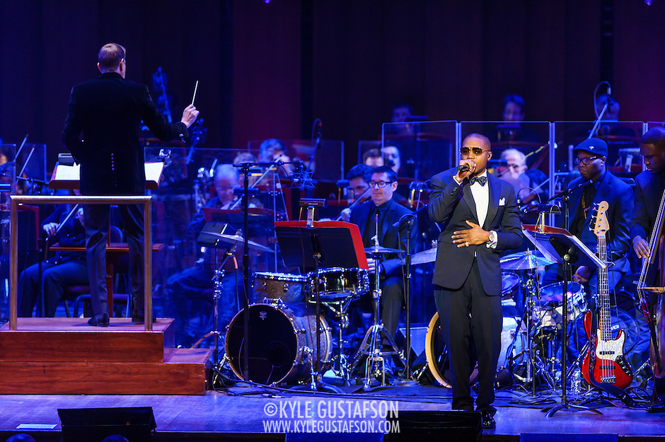 "WASHINGTON, DC - March 28th, 2014 - Rapper Nas performs his classic debut album Illmatic with the National Symphony Orchestra at the Kennedy Center in Washington, D.C. The performance was part of the ""One Mic: Hip-Hop Culture Worldwide"" festival. (Photo by Kyle Gustafson / For The Washington Post) (Kyle Gustafson/For The Washington Post)"