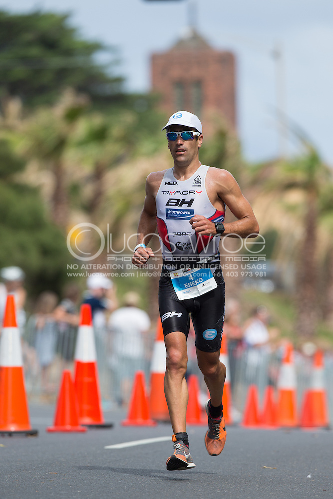 Eneko LLANOS (ESP) On The Run Course. Ironman Asia Pacific Championship Melbourne. Triathlon. Frankston And St Kilda, Melbourne, Victoria, Australia. 24/03/2013. Photo By Lucas Wroe (Lucas Wroe)