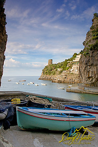 Fishing boats, Harbor, old village, Amalfi Coast, Italy