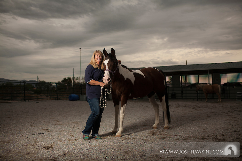"Laurie Willmott is founder of ""Spirit Therapies"" offering therapeutic horseback riding to individuals with special needs and military member with physical or mental challenges. (Josh Hawkins)"