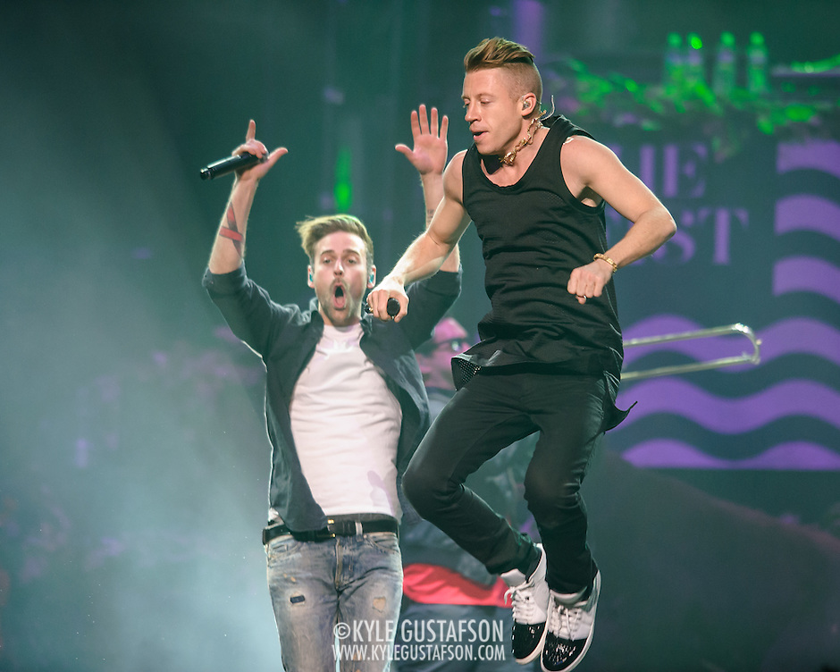 "WASHINGTON, DC - November 18, 2013 - Macklemore and Ryan Lewis  perform at the Verizon Center in Washington, D.C. The duo is still riding high off of their 2012 album, The Heist, which contains the #1 singles ""Thrift Shop"" and ""Can't Hold Us."" (Photo by Kyle Gustafson / For The Washington Post) (Kyle Gustafson/For The Washington Post)"