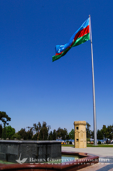 Azerbaijan, Baku. National Flag Square is a large city square by Neftchiler Avenue in Bayil, Baku. The flag flies on a pole 162 meters high and measures 70 by 35 meters which makes it one of the world's tallest flags. (Photo Bjorn Grotting)