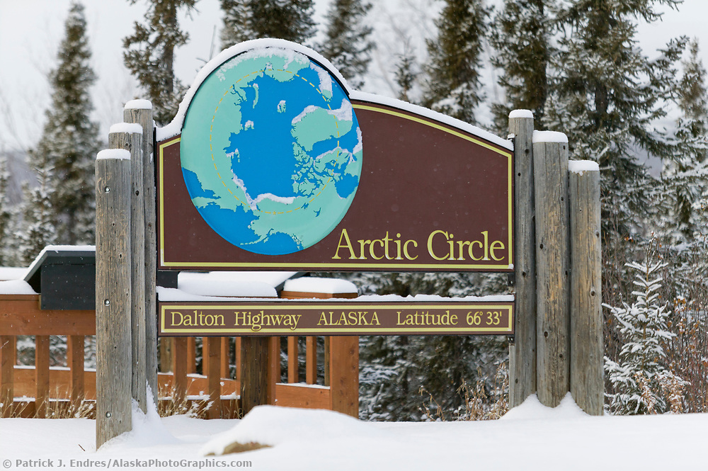 Fairbanks Alaska photos: Arctic Circle sign at the rest stop and campground along the Dalton highway, Alaska (Patrick J. Endres / AlaskaPhotoGraphics.com)