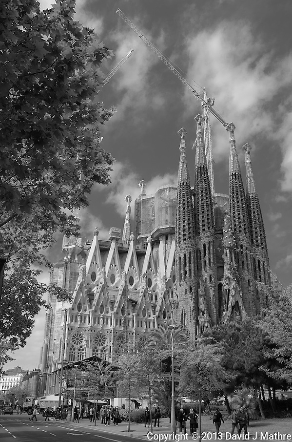 Sagrada Familia Cathedral in Barcelona, Spain. Image taken with a Leica X2 camera (ISO 100, 24 mm, f/16, 1/80 sec). In camera B&W. (David J Mathre)