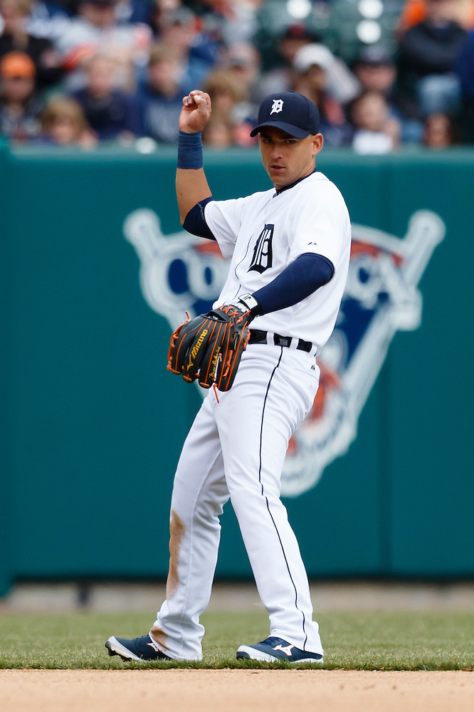 Apr 6, 2015; Detroit, MI, USA; Detroit Tigers shortstop Jose Iglesias (1) looks to first after he makes a throw for an out against the Minnesota Twins at Comerica Park. Mandatory Credit: Rick Osentoski-USA TODAY Sports (Rick Osentoski/Rick Osentoski-USA TODAY Sports)