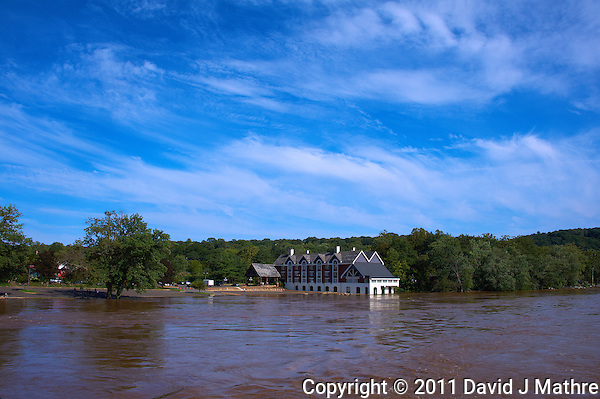 Lambertville Inn from the Lambertville New Hope Bridge. Delaware River at Near Flood Stage after Hurricane Irene. Image taken with a Nikon D700 and 28-300 mm VR lens (ISO 200, 28 mm, f/8, 1/1000 sec). Raw image processed with Capture One Pro 6, Nik Define 2, and Photoshop CS5. (David J Mathre)