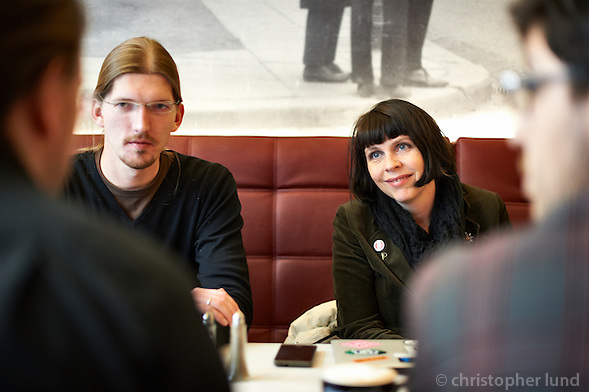 Members of the german Piraten Partei   meeting with Birgitta Jónsdóttir at Café Hressó Reykjavík. (Christopher Lund/©2011 Christopher Lund)