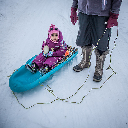Three year old Ora with her mother Noelle Deschamps in Anchorage's South Addition neighborhood  noeller123@yahoo.com (© Clark James Mishler)