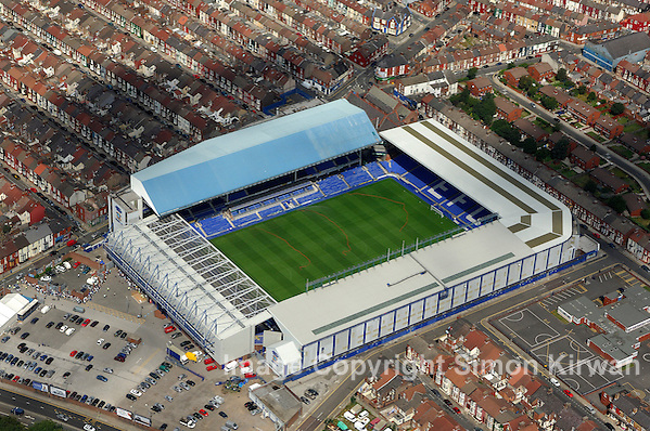 Football grounds from the air: Aerial view of Goodison Park, Everton FC Simon Kirwan