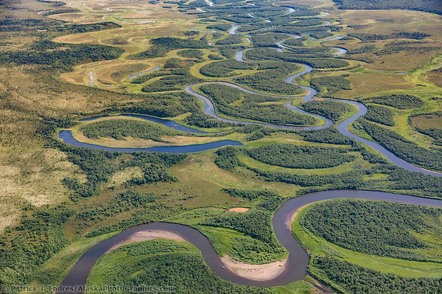 Rivers wind through the flat tundra wetland area in Katmai National Park, Alaska. (Patrick J Endres / AlaskaPhotoGraphics.com)
