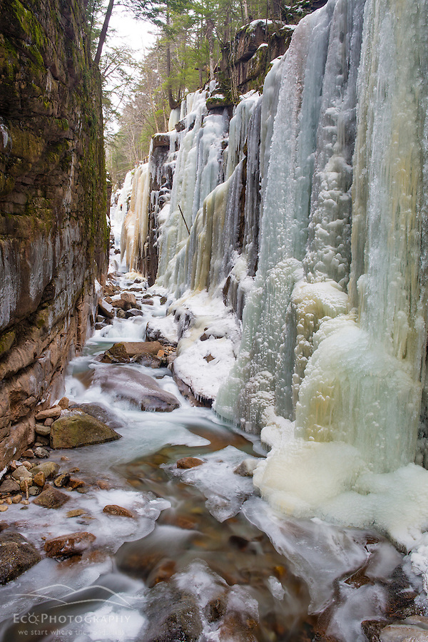 Icicles in The Flume Gorge in New Hampshire's Franconia Notch State Park. White Mountains. (Jerry and Marcy Monkman)