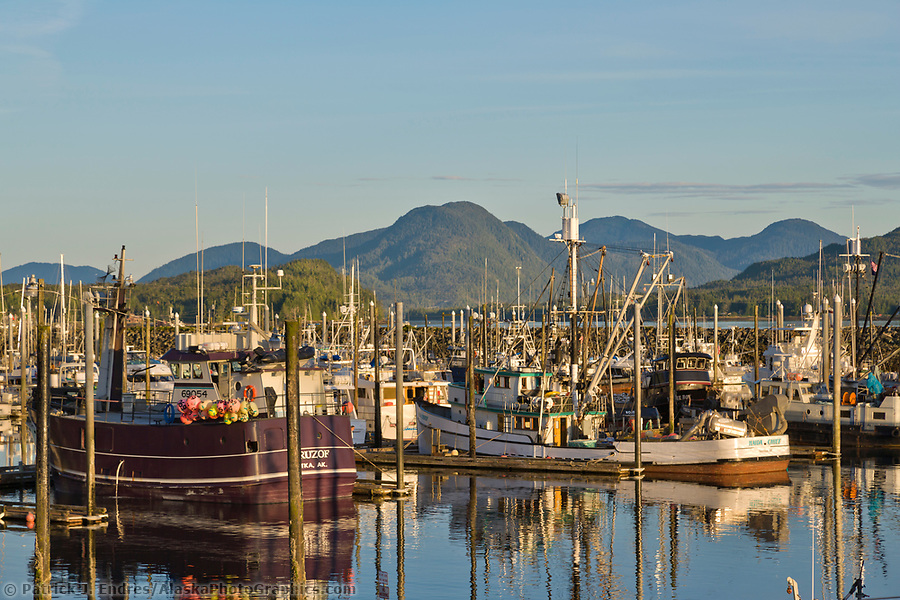 Evening sun on fishing boats in Ketchikan harbor, Ketchikan, southeast, Alaska. (Patrick J. Endres / AlaskaPhotoGraphics.com)
