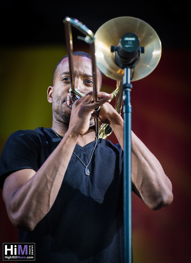 Trombone Shorty and Orleans Avenue perform at the 2013 Jazz and Heritage Festival in New Orleans, LA on May 5, 2013.  © HIGH ISO Music, LLC / Retna, Ltd. (HIGH ISO Music, LLC)