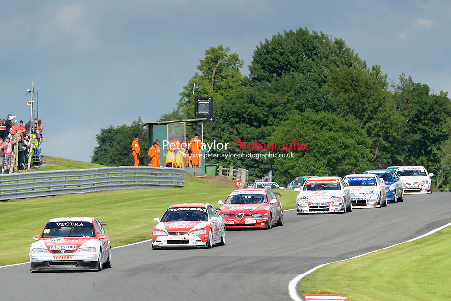 #98 John Cleland - Vauxhall Vectra in front of #3 James Dodd - Honda Accord at the start of the HSCC Super Touring Car Championship race one at Oulton Park, Little Budworth, Cheshire, United Kingdom. June 07 2014. World Copyright Peter Taylor/PSP. Copy of publication required for printed pictures. Every used picture is fee-liable. http://archive.petertaylor-photographic.co.uk (Peter Taylor/PSP)