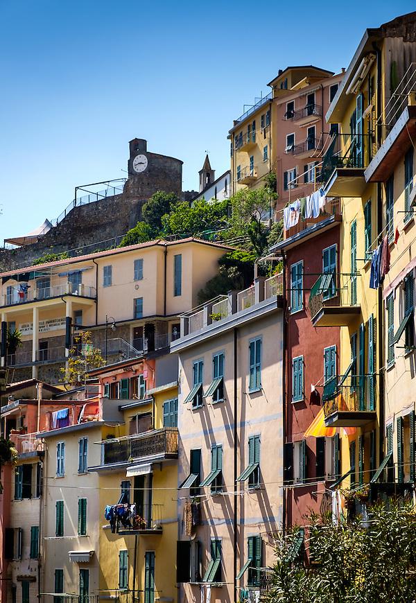 RIOMAGGIORE, ITALY - CIRCA MAY 2015: Balconies in the village of Riomaggiore in Cinque Terre, Italy. (Daniel Korzeniewski)